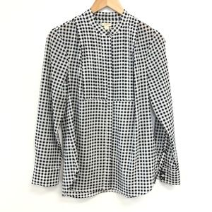 J Crew | Gingham Button Down Blouse Pleated